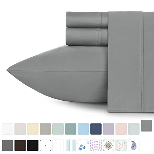 California Design Den 400 Thread Count 100% Cotton Sheet Set, Slate Grey Full Sheets 4 Piece Set, Long-Staple Combed Pure Natural Cotton Bedsheets, Soft & Silky Sateen Weave from California Design Den
