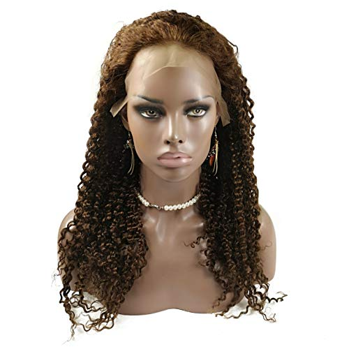 """Stock-Wig! 150% Density Afro Brazilian kinky curl Wigs 20"""" Human Hair Lace Front Wig Medium Brown"""