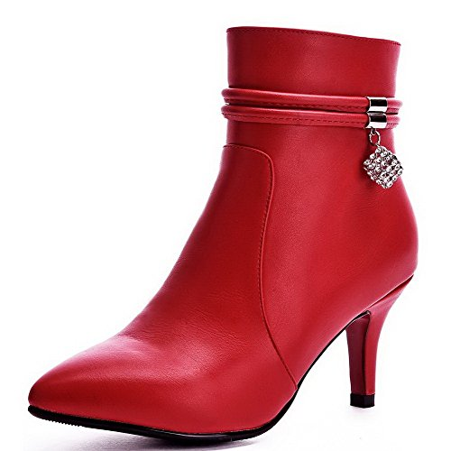 Red Soft Heels Material Closed Women's top Zipper Boots High AmoonyFashion Low Pointed Toe SxZn74wpCq