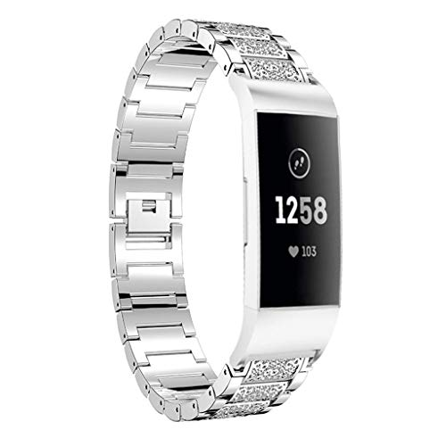 Hot Sale! NDGDA, Watch Bands for Fitbit Charge 3 Bracelet Stainless Steel Diamond Replacement (Silver)