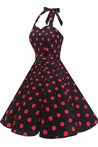 1950s Topdress Women'sVintage Cocktail Dress Audrey Retro Dot Halter Dress Polka Black Fuchisa IwSwqr