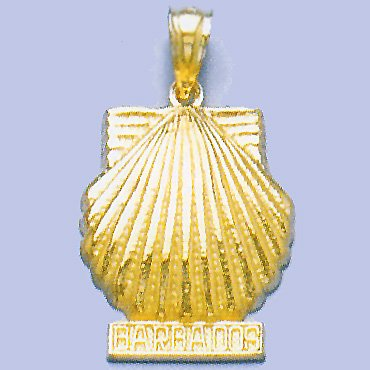14k Yellow Gold Charm Barbados Under Scallop Shell