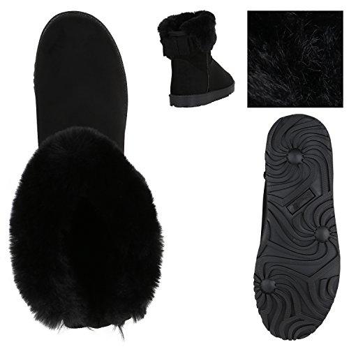 Stiefelparadies Kinder und Damen Stiefeletten Warm Gefütterte Schlupfstiefel Profil Schuhe Flandell Schwarz Berkley
