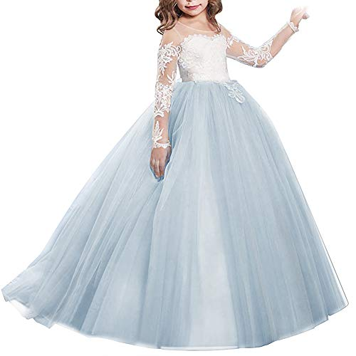 Girls Flower Lace Princess Christmas First Communion Tulle Dress for Kids Long Pageant Gown Floor Length Prom Dance Evening #I Long Sleeve Tiffany Blue 2-3T