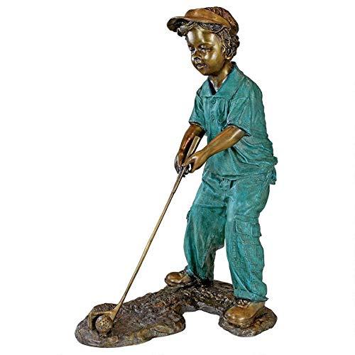 Design Toscano PN6549 Gabe The Boy Golfer Cast Bronze Garden Statue, Two Tone Bronze & Verdigris