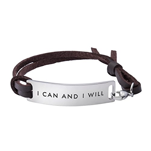 Yiyang Motivational Jewelry Gift for Her Stainless Steel Leather Bracelet for Female Hand Stamped Metal I Can and I Will ()