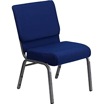 Flash Furniture HERCULES Series 21''W Stacking Church Chair in Navy Blue Fabric - Silver Vein Frame
