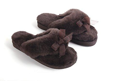 Lamm Womens Naturlig Australiska Fårskinn Flip Flops Tofflor Choklad