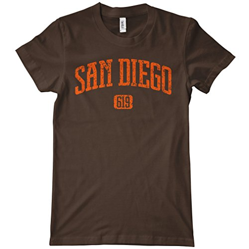 Smash Vintage Women's San Diego 619 T-shirt - Brown, (Printed T-shirts San Diego Chargers)