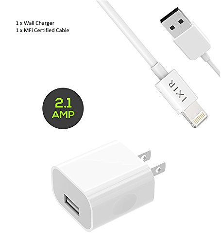 iPhone 8 Charger Set: iPhone X / 8 / 8 Plus / 7 Plus / 7 / 6 / 6S / 6S plus 5W 2.1A Power Adapter and Apple MFi Certified Lightning to USB Cable Kit by Ixir (1 Wall Charger + 1 Cable)