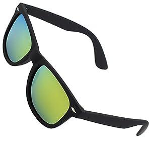 CGID Classic Eyewear 80's Retro Large Horn Rimmed Style UV400 Polarized Sunglasses,Black Gold