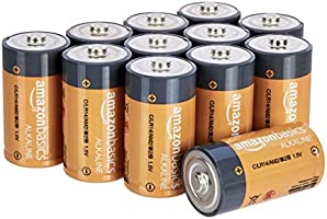 AmazonBasics C Cell 1.5 Volt Everyday Alkaline Batteries - Pack of 12