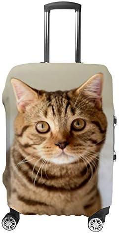 スーツケースカバー 伸縮素材 トランク カバー 洗える 汚れ防止 キズ保護 盗難防止 キャリーカバー おしゃれ ブリティッシュショートヘアの猫 ポリエステル 海外旅行 見つけやすい 着脱簡単 1枚入り