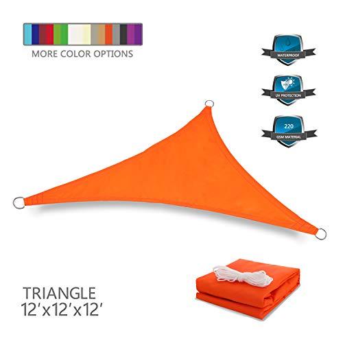 (Tuosite Terylene Waterproof Sun Shade Sail UV Blocker Sunshade Patio Equilateral Triangle Knitted 220 GSM Block Fabric Pergola Carport Awning 12' x 12' x 12' in Color Orange)