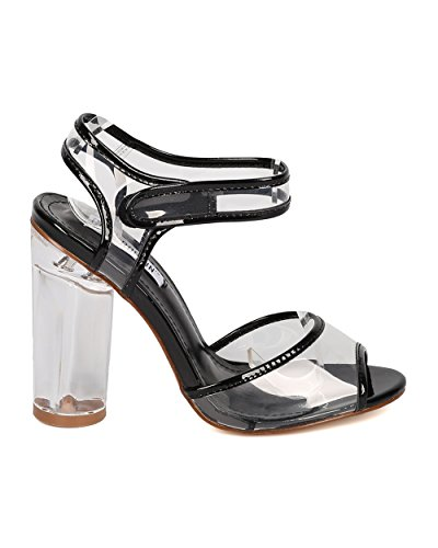 Block Ankle HJ54 Women CAPE Black Patent Lucite ROBBIN Leatherette Heel Strap Peep Toe Patent 50fnPz6fq