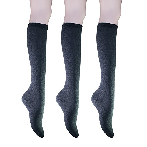 Knee Socks Charcoal - KONY Womens Cotton Knee High Socks - Casual Solid & Triple Stripe Colors Fashion Socks 3 Pairs (Womens Shoe Size 5-10) (Charcoal - 3 Pairs)