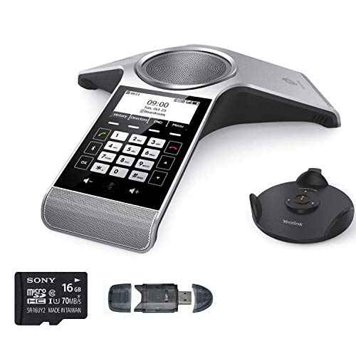 Yealink CP930W DECT IP Conference Phone and Base Station with 16GB microSD Memory Card for Recording Calls + USB SD Card Reader