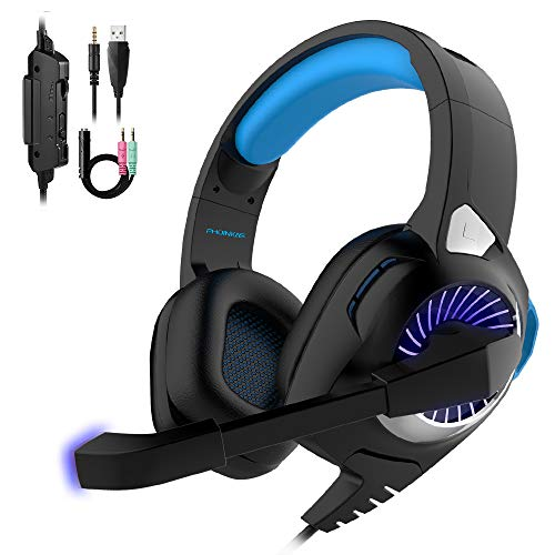 Gaming Headset Xbox One Headset with 7.1 Surround Sound Stereo,PHOINIKAS H9 PS4 Headset,Over Ear Headphones with Noise Isolating Mic, LED Light, Volume Control for Laptop, PC, Tablet Blue