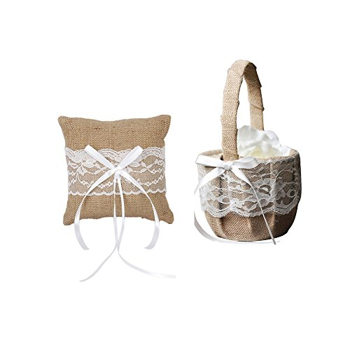 IdealDecor Vintage Rustic Burlap Wedding Flower Girl Basket And White Lace Wedding Ring Pillow (Simple Flowers Set)