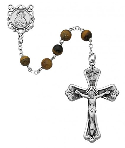 6mm Genuine Tiger Eye Pewter Rosary. Pewter Sacred Heart Center and Crucifix. Deluxe Gift Box Included. 19