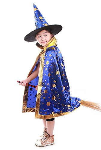 Blue Witch Costumes For Kids (Halloween Costumes Witch Wizard Cloak with Hat for Kids Boys Girls (Blue))