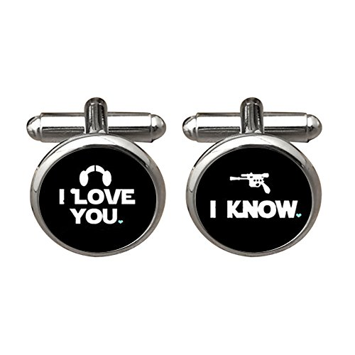 ZUNON I Love You I Know Valentine's Day Wedding Anniversary Groom Groomsmen Wedding Cufflinks (Black)