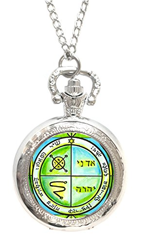 Solomons 3rd Seal of Jupiter Protects Against Enemies & Evil Silver Necklace Pocket Watch