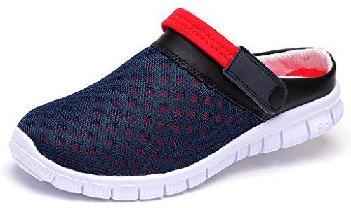 Lisyline Uomo Traspirante Maglia Scarpe Da Spiaggia Sandalo Aqua Walking Pantofole Antiscivolo Blu-rosso
