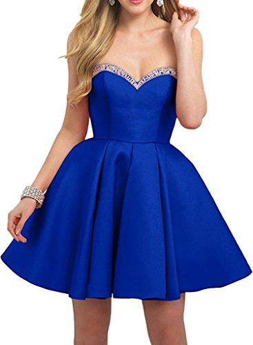 Blau Partykleider Tanzenkleider Abendkleider Herzausschnitt Royal Mini Traegerlos Kurz Damen La Festlichkleider Marie Braut 7yqA7wFR