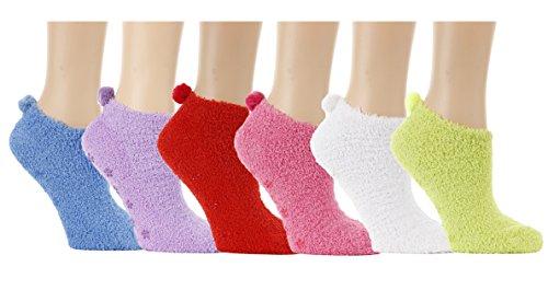 Fuzzy Ankle Socks,anklets, Footie, with Pom Pom, 6 Pairs, Size 9-11 ()