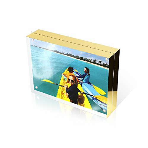 4X6 Double Sided Picture Frame - Magnetic Clear Acrylic Photo Frames with Microfiber Cloth and Black Gift Box by Premium Shoppe - 20+20MM Thick Plastic Frameless Floating Desktop Picture Frame by The Premium Shoppe