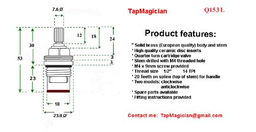 Replacement Ceramic Disc Stem Cartridge Faucet Valve Quarter turn PAIR 1/2'' X 53mm x 12mm spline length 20 teeth by Tap Magician