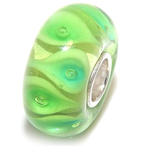 d Sterling Silver Green Calla Lily Flower Petals Glass Charm Bead ()