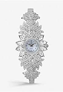 Mon Grandeur Womens Analog Watch Metal Flower Strap With Stone Color Silver Dial Shape Flower with White Stone and Dial Color Silver IN-46091-Silver