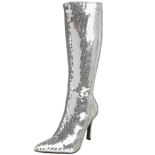 Silver Sequin Boots - Funtasma by Pleaser Women's Lust-2001 Boot,Silver Sequins,8 M