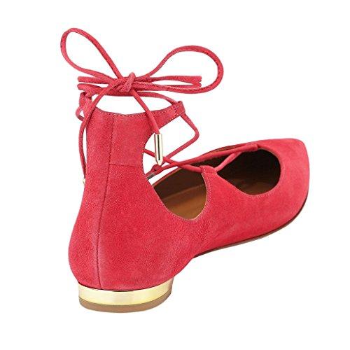 con Rojo cuña Sandalias rosa b Jushee mujer ZacwH5Wnq