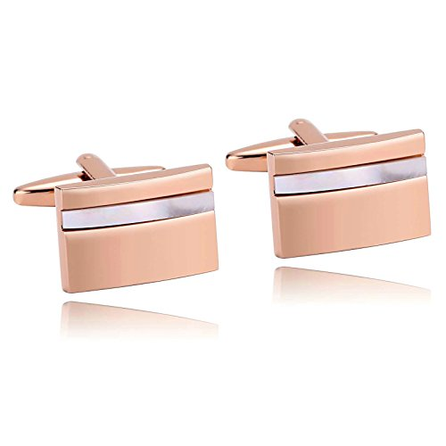 White Rose Cufflinks (MoAndy Stainless Steel Cufflinks for Mens White Rose Gold Classic Laser Cut Camber Rectangle)