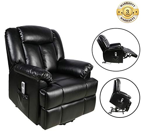 Power Lift Recliner Sofa Chair with Massage and Heating, Luxurious Breathable Leather Air Lounge Living Room Chair, Black For Sale