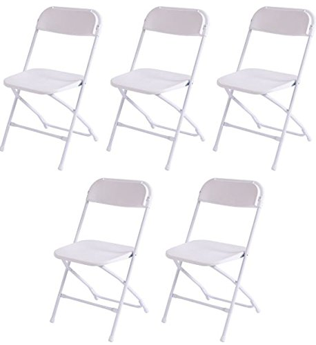 K&A Company Plastic Folding Chairs Commercial Stackable Chair Wedding Party Event Pack Quality Premium Lb Seat Back Set of 5 White
