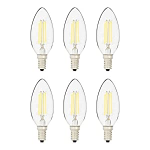 AmazonBasics 40 Watt Equivalent, All Glass, Dimmable, B11 LED Light Bulb | Daylight, 6-Pack
