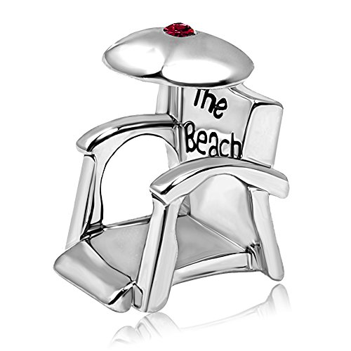 JMQJewelry Holiday Charms Valentine's Day Beach Chair Beads January Crystal Charms For - January Charm Crystal
