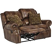 Ashley Furniture Signature Design - Walworth Recliner Loveseat with 2 Pillows - Pull Tab Manual Reclining - Auburn