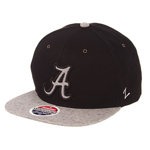 Zephyr NCAA Alabama Crimson Tide Men's Boss Snapback Hat, Adjustable, Black/Grey ()