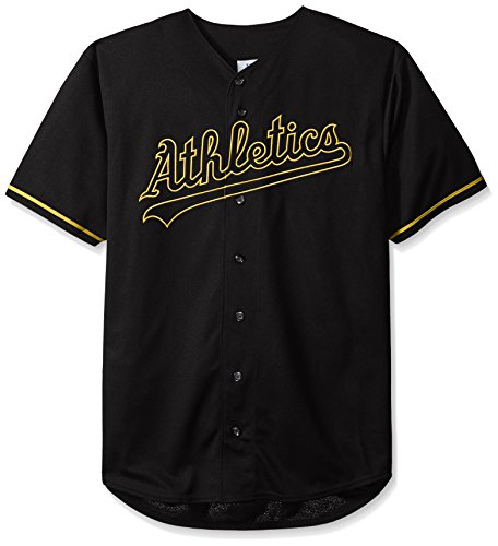MLB Oakland Athletics Men's Short Sleeved Texture Replica Jersey with Pop Applique, 2X/Tall, Black
