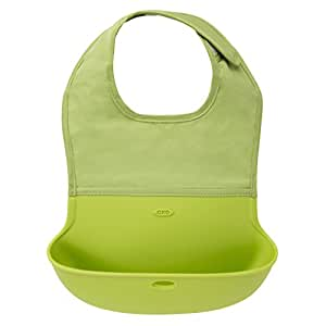 OXO Tot Silicone Roll Up Bib with Comfort-Fit Fabric Neck ,Green