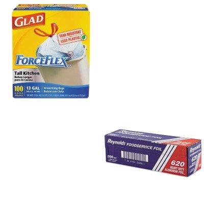 kitcox70427rfp620-value-kit-reynolds-heavy-duty-aluminum-foil-roll-rfp620-and-glad-forceflex-tall-ki