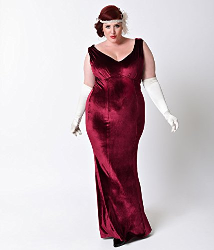 Unique Vintage Plus Size 1930s Style Burgundy Red Sleeveless ...
