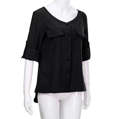 Shirt Longues Manches à Hauts Chemise Shirt V Blouse Débardeurs Femmes Haut Col T Tee Femme Tops Femme Femmes Lâche Mode Tops Noir Casual Beikaord txI14