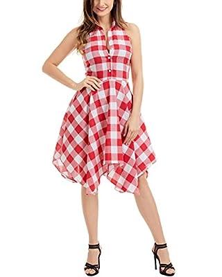 Gikim Women's New Plaid Irregular Hem Casual Grid Shirt Dress S-XL