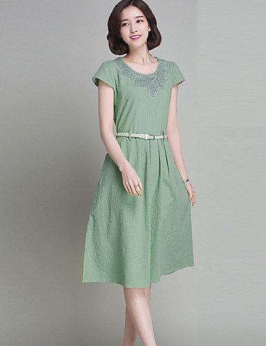 PU&PU Robe Aux femmes Trapèze Simple,Couleur Pleine Col Arrondi Mi-long Lin , green-m , green-m
